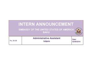 Vacancy for Administrative Assistant Intern in Baku, Azerbaijan
