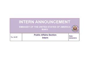 Vacancy for Public Affairs Section Intern in Baku, Azerbaijan
